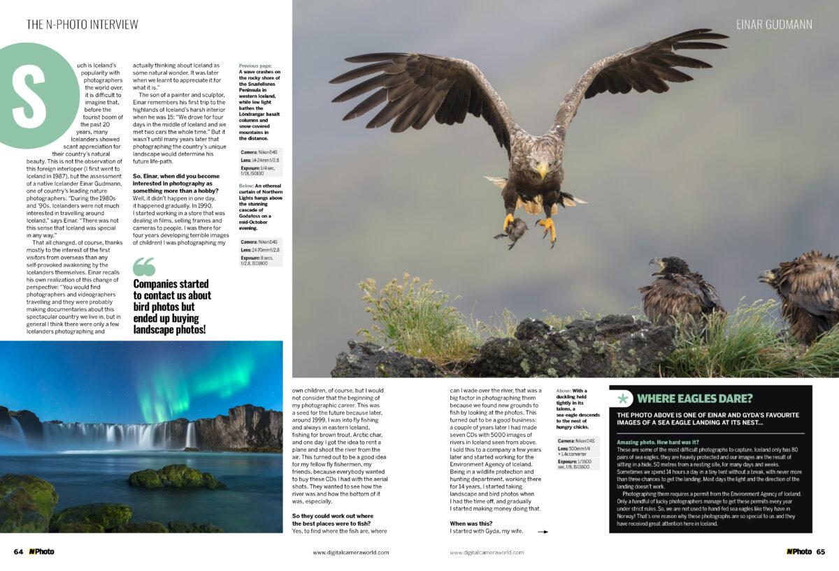 Einar Gudmann and Gyda Henningsdottir interview feature in the N-Photo magazine